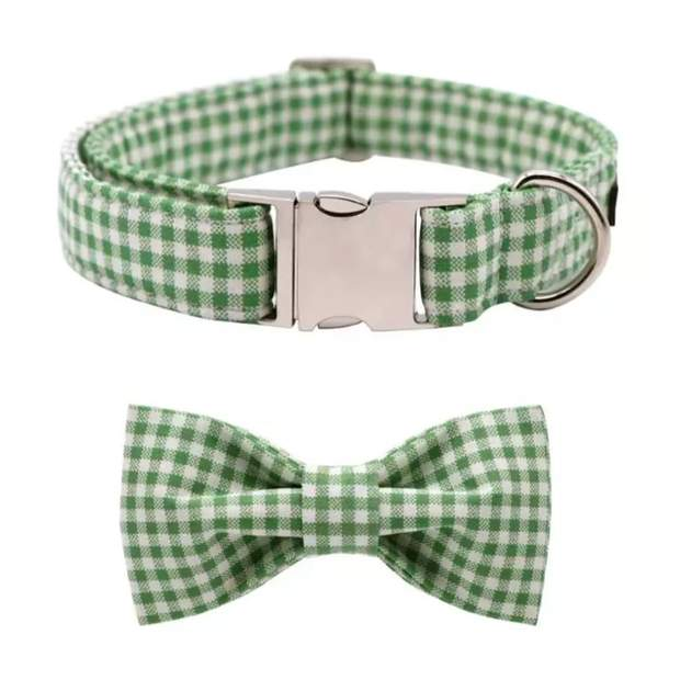 Green Gingham Dog Collar and Bow Set