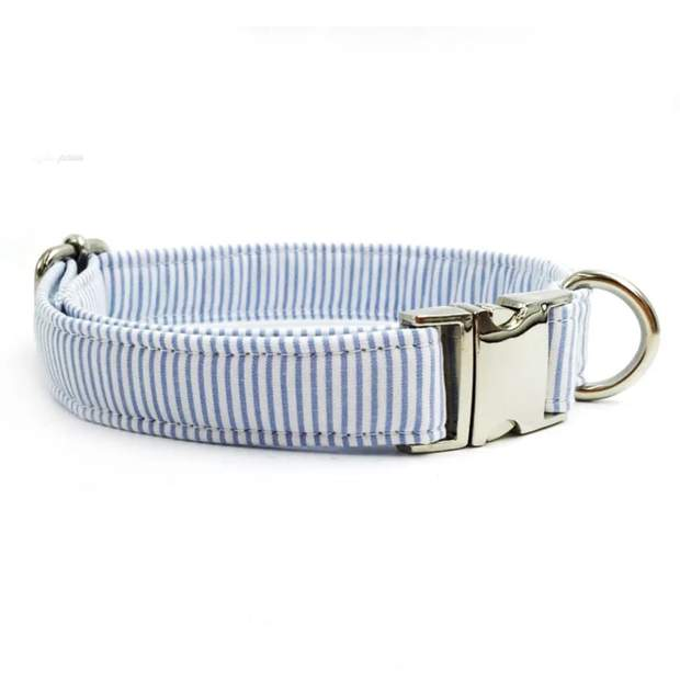 Light Blue Pinstripe Dog Collar and Bow Set