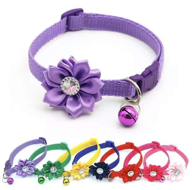 Dog Collars - Jeweled Flower Small Dog And Cat Collar With Bell