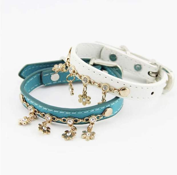 Dog Collars - Leather Collar With Flower Charms For Small Dogs And Cats