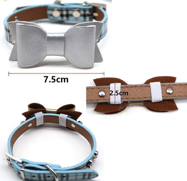 Dog Collars - Leather Pet Collar Bows For Small Dogs And Cats