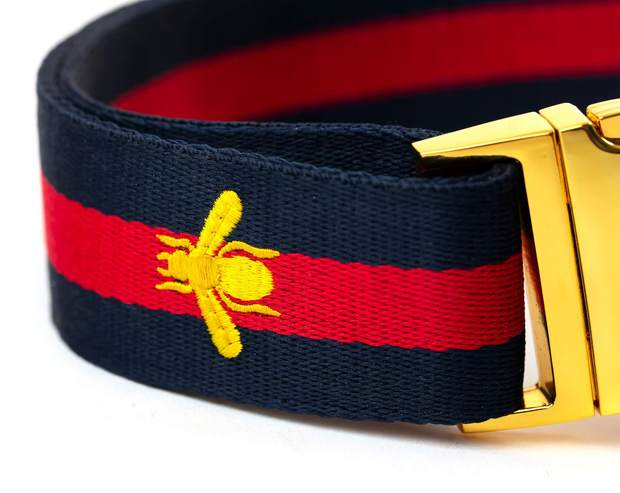 "Dog Collars - Navy Golden Bee Large Dog Collar  - ""The Navy Grand Poochie"""