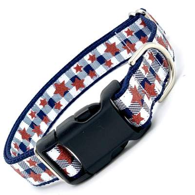 Dog Collars - Navy Stars Plaid Dog Collar