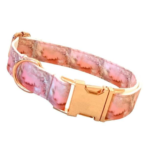 Dog Collars - Pink Marble Rose Gold Dog Collar