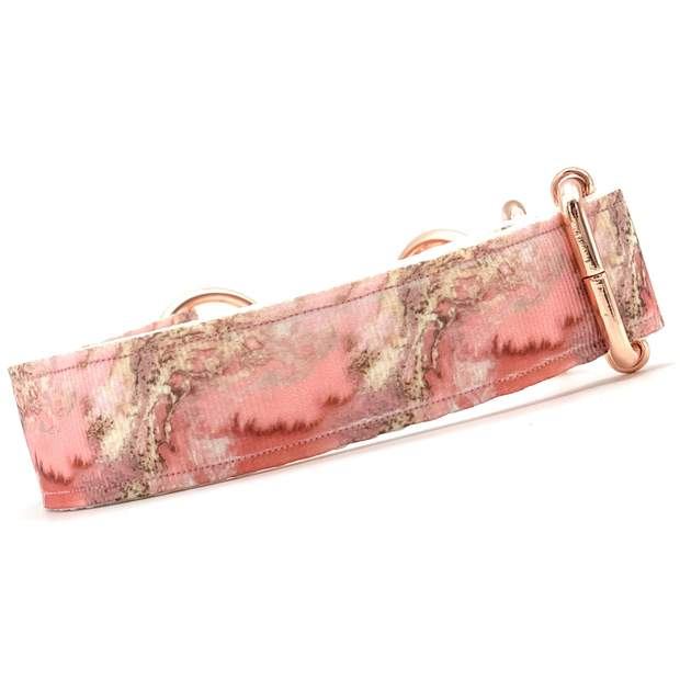 Dog Collars - Pink Marble Rose Gold Martingale Chain Dog Collar