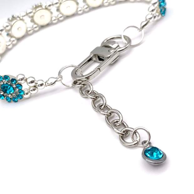 Pet Jewelry - Sparkling Teal Flower Rhinestone Pet Collar Necklace