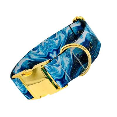 Dog Collars - Blue Agate Large Dog Collar