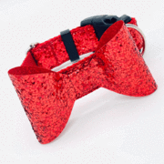 Dog Collars - Red Glitter Dog Collar With Bow