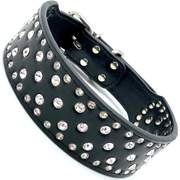 Dog Collars - Stunning Rhinestone Studded Leather Dog Collar
