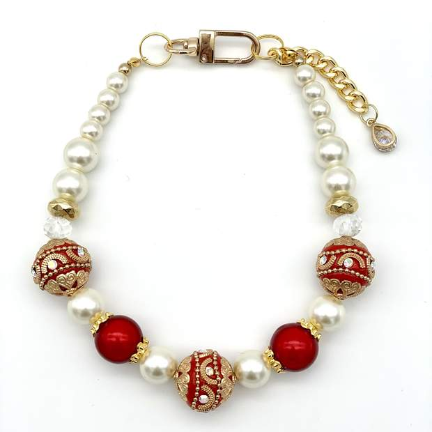 Holiday Pearl Dog Necklace Collar
