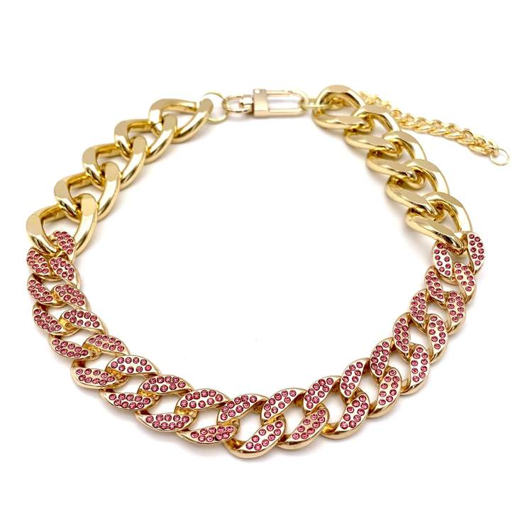 Pet Jewelry - Gold Cuban Link Chain And Pink Rhinestone Pet Necklace